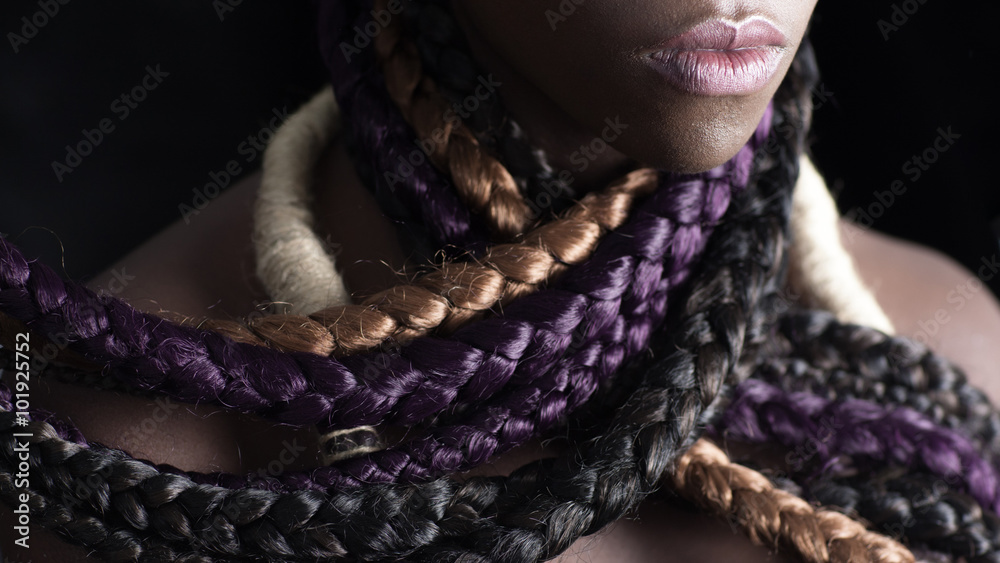 Fototapety, obrazy: afro-american woman with colored long braids