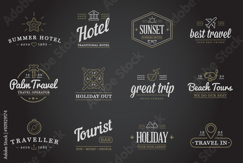 Poster Retro Set of Vector Travel Tourism and Holiday Elements Icons Illustration can be used as Logo or Icon in premium quality