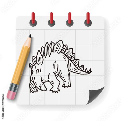 Photo  Stegosaurus dinosaur doodle