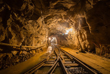 Gold Mine Underground Ore Tunnel With Rails