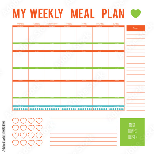 meal plan for a week calendar page vector printable boxes half