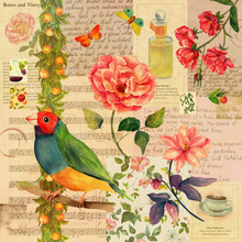 Vintage Style Collage Background With Mockups Of Old Newspaper, Butterflies And Birds