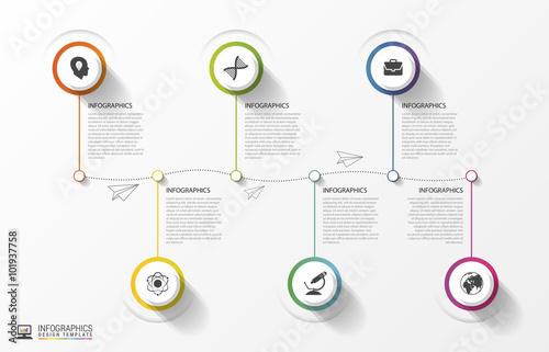 Valokuvatapetti Modern Timeline Infographics. Colorful design template. Vector
