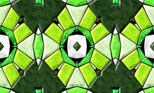 Green Kaleidoscope Pattern. Abstract Background Ideal For Wallpaper Pattern And Other Backgrounds.