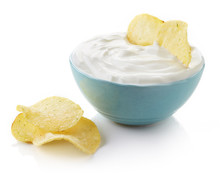 Potato Chips And Bowl Of Dip
