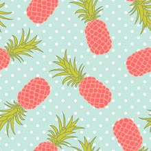 Seamless Pineapple Pattern With Polka Dots
