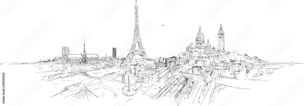 Fototapety, obrazy: PARIS city panoramic sketch