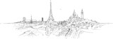 Fototapeta Paris - PARIS city panoramic sketch