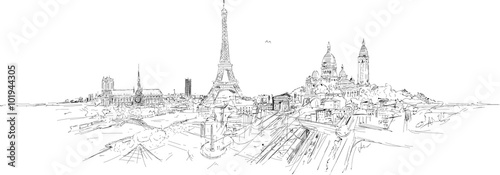 PARIS city panoramic sketch - 101944305