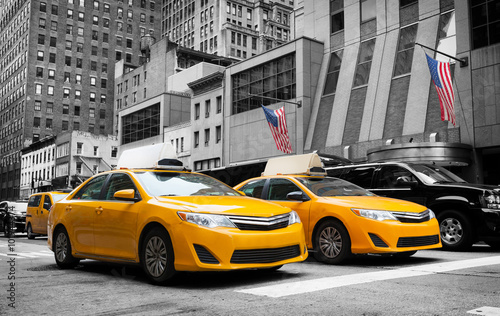 Spoed Foto op Canvas New York TAXI Classic street view of yellow cabs in New York city