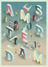 3d Isometric Vector Typographic Amsterdam Poster