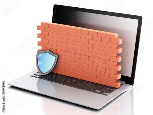 Fotografía  3d Laptop with brick wall. Firewall concept.