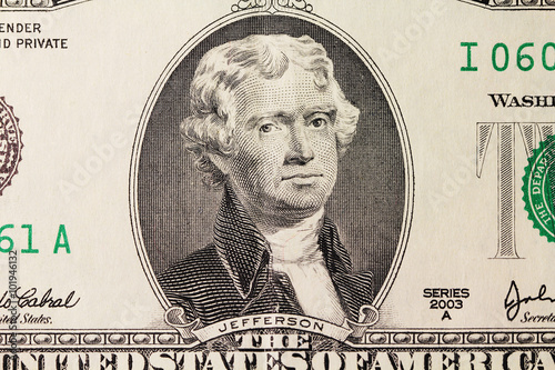Jefferson's portrait on dollar Poster