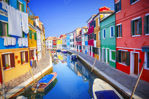 Colorful houses in Burano, Venice, Italy Wallpaper Mural