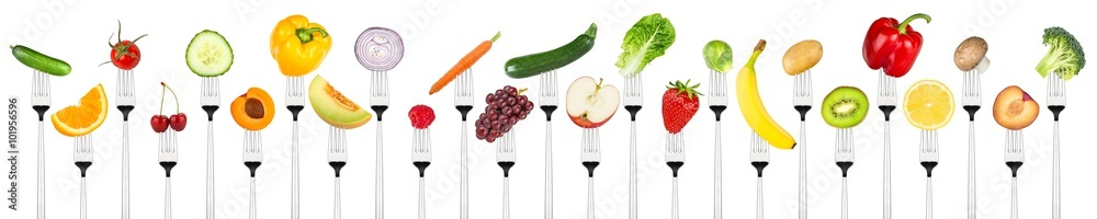Wiersz Smaczne Owoce I Warzywa Na Widelce Na Białym Tle