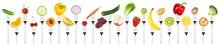 Row Of Tasty Fruits And Vegeta...