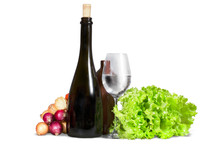 Group Of Various Vegetables, Greenery With Water Glass And Bottl