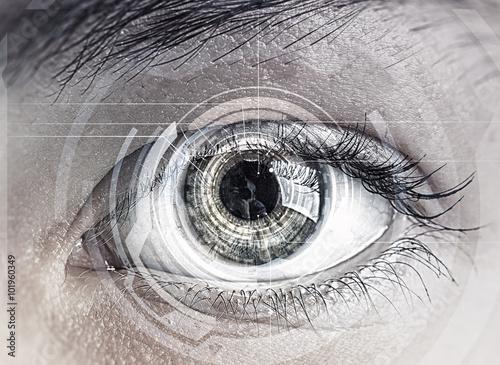 Poster Iris Eye scanning. Concept image