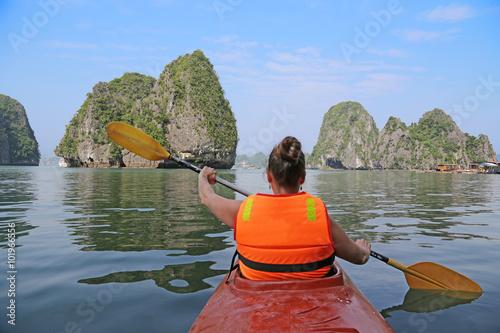Kayaking in Halong Bay.Vietnam