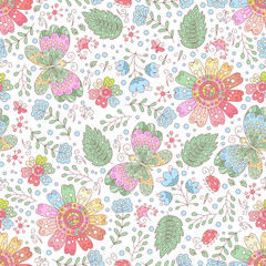 Fototapeta Vector flower seamless pattern. Doodle floral background.