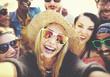 canvas print picture - Diverse People Beach Summer Friends Fun Selfie Concept