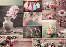 Easter Collage With Flowers, Rabbits And Eggs