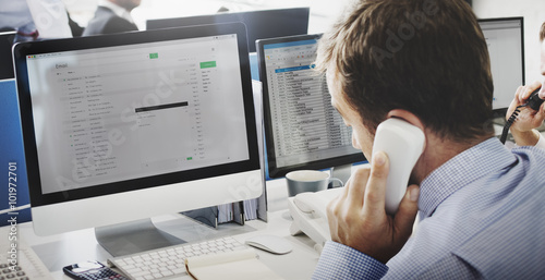 Fotografie, Obraz  Businessman Using Telephone Corresopndence E-mail Concept