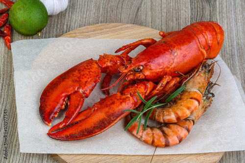 Canvastavla  Lobster and shrimps