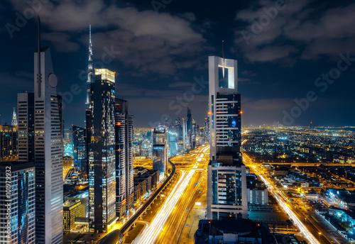 Photo  Scenic Dubai downtown architecture at night