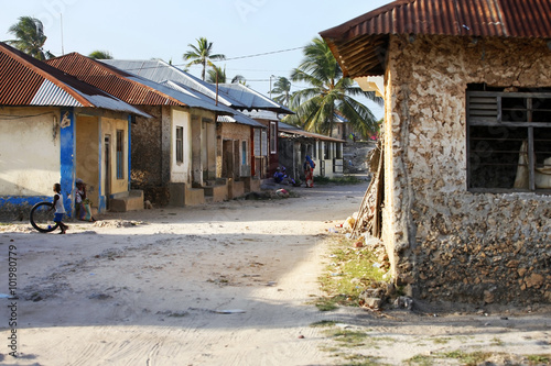 Printed kitchen splashbacks Zanzibar Boy playing In Front Of Their Houses
