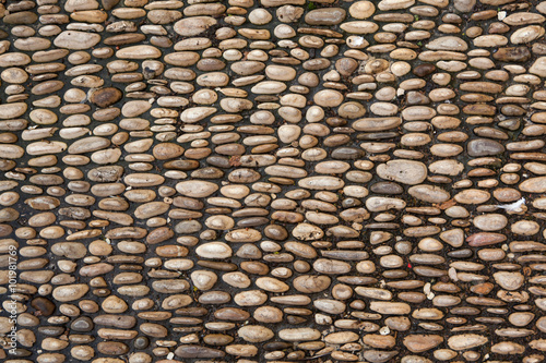 Fotomural Cobbled pavement made of river rounded pebbles. Background textu