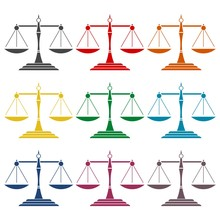 Justice Scale Icons Set
