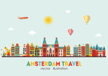 Amsterdam Skyline. Vector Illustration