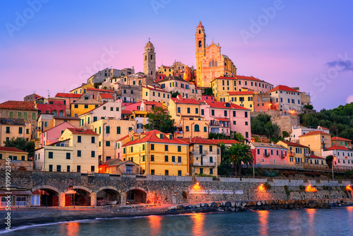 Photo sur Toile Ligurie Cervo on mediterranean coast of Liguria, Italy