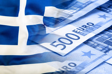 Greece Flag. Euro Money. Euro Currency. Colorful Waving Greece Flag On A Euro Money Background