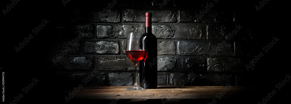 Wine and black wall
