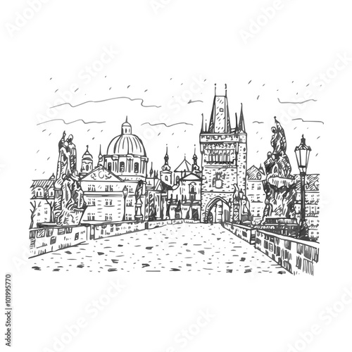 View From Charles Bridge Prague Czech Republic Vector Hand Drawn