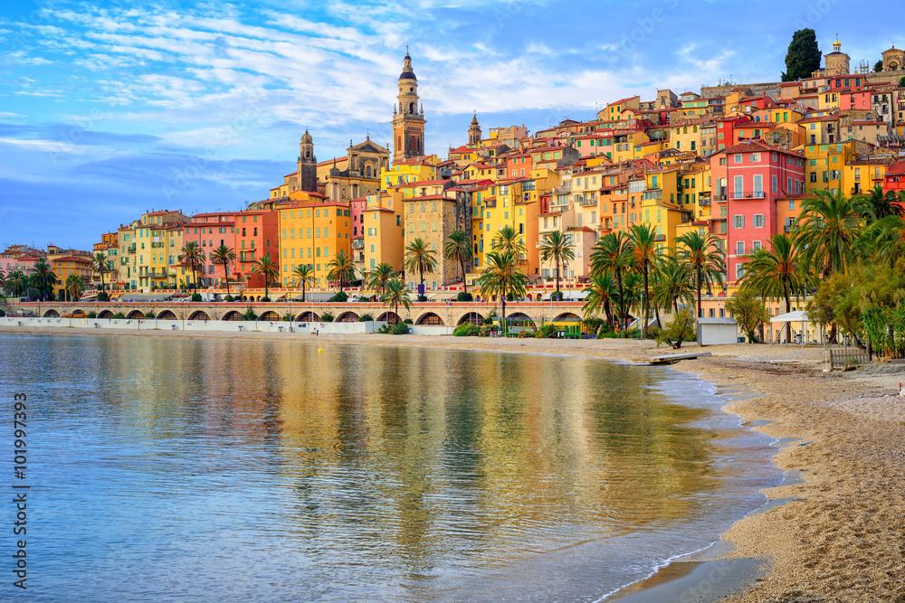 Fototapeta Colorful medieval town Menton on Riviera, Mediterranean sea, Fra