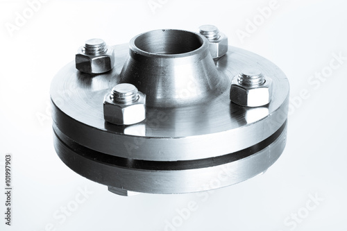 Fotografie, Obraz  Two neck flanges connected together and bolted - isolated.