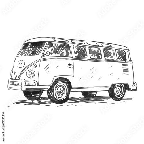 Retro bus Wallpaper Mural