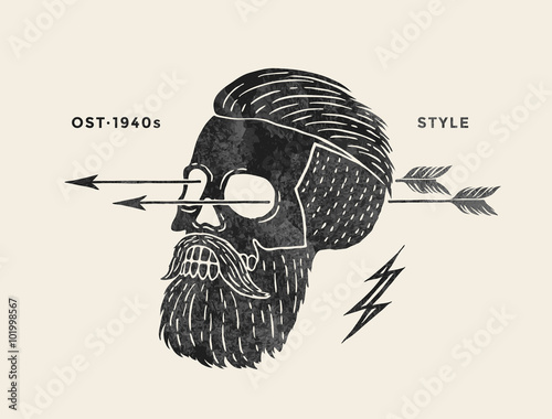 Ingelijste posters Aquarel schedel Poster of vintage skull hipster label. Retro old school set for t-shirt print. Vector Illustration.