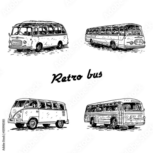 Photo  Set of vintage buses