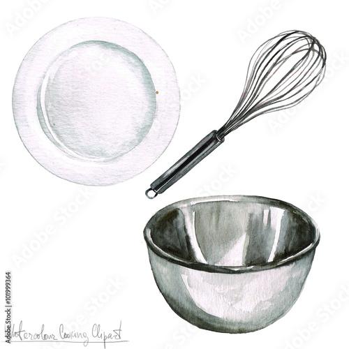 Papiers peints Cuisine Watercolor Cooking Clipart - Kitchenware