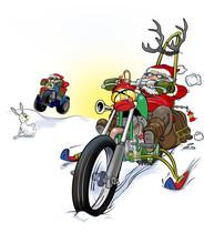 Cracy Santa Biker On Snow Bike. Lustig Tomte På Custom Mc I Snö