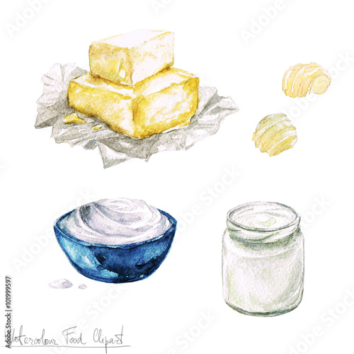 Canvas Prints Watercolor Illustrations Watercolor Food Clipart - Dairy Products and Cheese