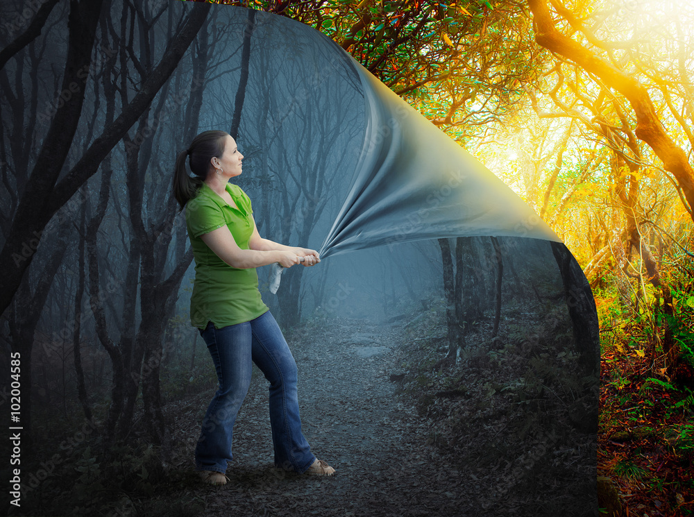 Fototapeta Woman and scary forest