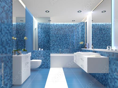 Modernes Bad Badezimmer Mit Farbigen Fliesen Blau Weiss Buy This