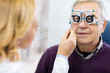 Optical specialists precisely determines diopter to senior patie
