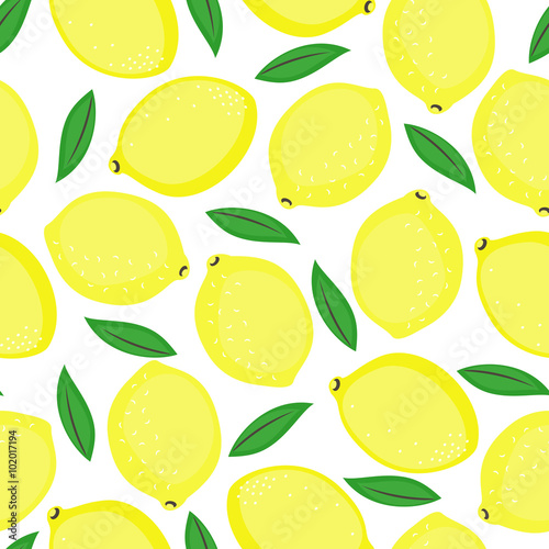 Seamless Background With Yellow Lemons And Green Leaves Cute Vector