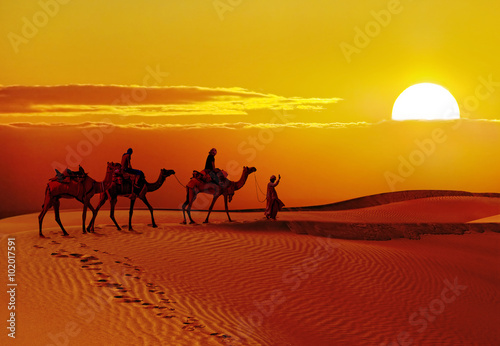 Cadres-photo bureau Desert de sable Beautiful sunset at desert , Jaisalmer,India